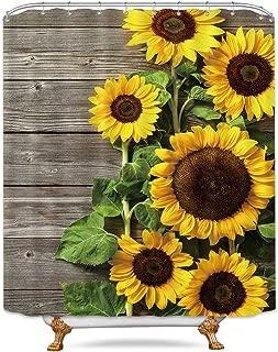 Riyidecor Sunflower Shower Curtain Wood Rustic Floral Spring Blooming Flower Plank Primitive Country Woman Waterproof Fabric Bathroom Bathtub Home Decor Set 72x84 Inch 12 Shower Plastic Hooks