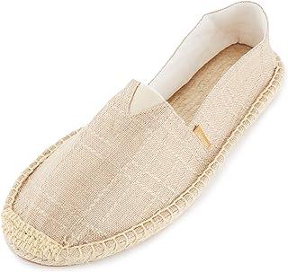 Alexis Leroy Men's Closed Toe Canvas Slip on Flat Espadrille Shoes Orange Size: 7-7.5