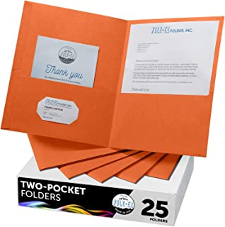 FILE-EZ Two-Pocket Folders, Orange, 25-Pack, Textured Paper, Letter Size (EZ-32565)