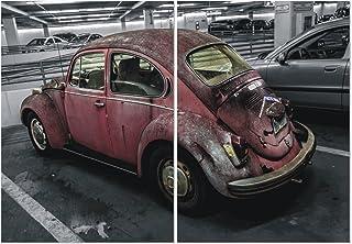 FURINNO Seni Tableau triptyque 2 panneaux MDF encadré Motif voiture rétro 101,6 x 69,8 cm
