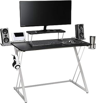 "OFM ESS Collection Gaming Computer Desk, 35"" Monitor Shelf, 55"", White/Black"
