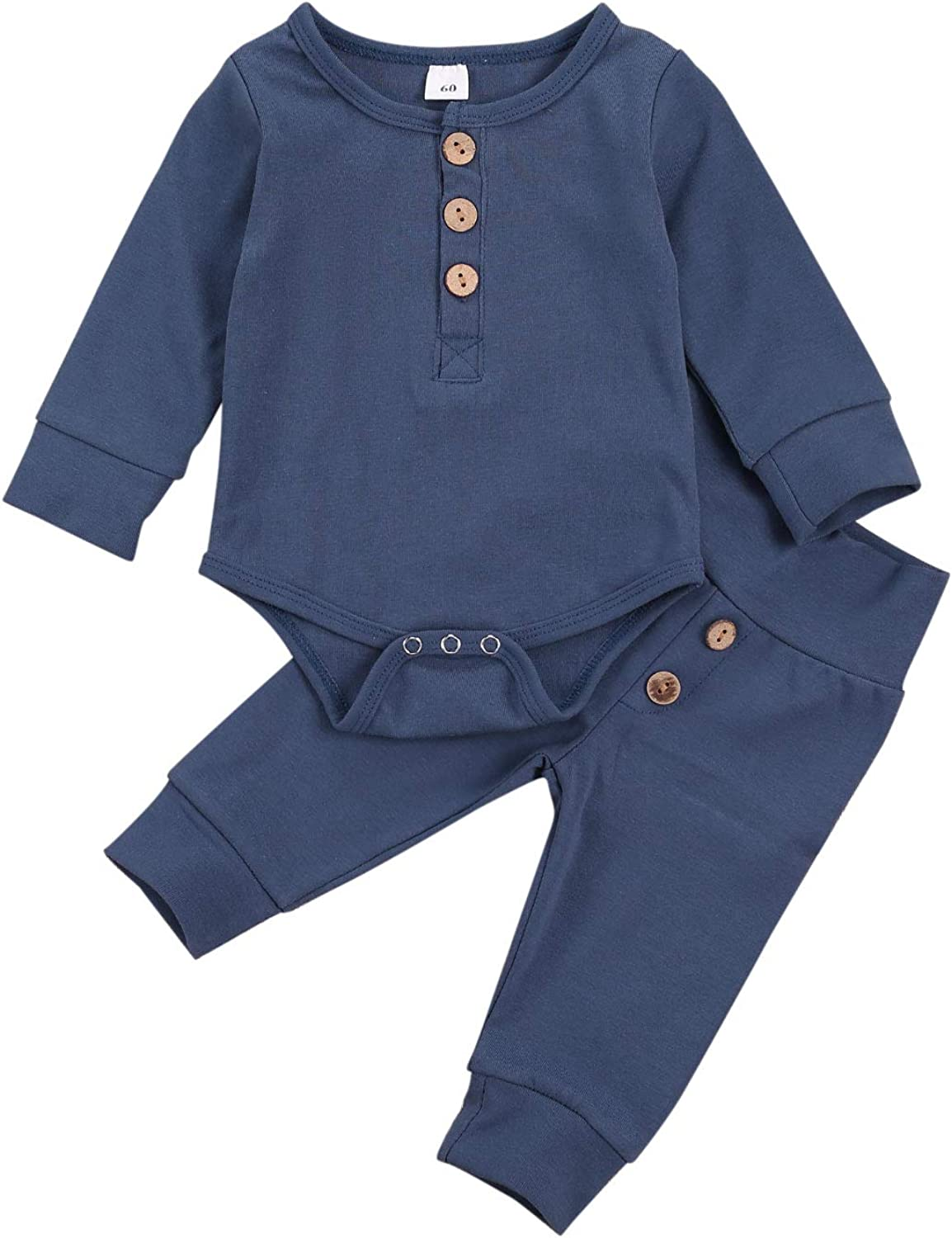 Infant Baby Boy Pajama Sets Cotton Solid Long Sleeve Button Romper Bodysuit Pants Outfits Home Coming Clothes