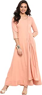 Janasya Women's Peach Poly Crepe Anarkali Kurta with Attached Dupatta