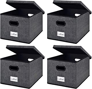 homyfort Collapsible File Storage Box Bins with Removable Lids,Portable Office Document Organizer,Decorative Box with Plastic Handles,Large Black with Grid Printing Set of 4