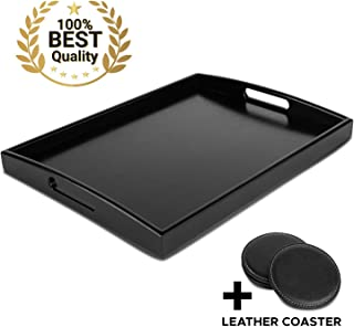 Decorative Black Wooden Bamboo Serving Tray Platter w/Handles For Breakfast Dinner, Ottoman Coffee Table, Parties, Food, Home, Bathroom, Appetizer, Drinks, Perfume, Cake (Medium) COASTERS INCLUDED