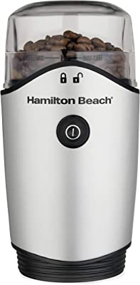 Hamilton Beach Electric Coffee Grinder for Beans, Spices and More, Stainless Steel Blades, Removable Chamber, Makes up to 12 Cups, Silver
