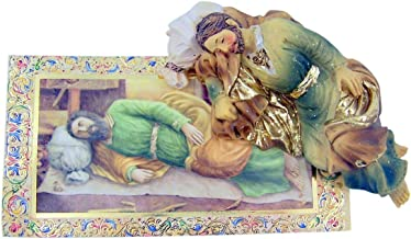 Hand Painted Resin Catholic Sleeping Saint Joseph Statue with Prayer Card, 4 Inch