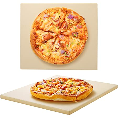 Unicook Pizza Stone 13 Inch, Square Baking Stone for Bread, Heavy Duty Ceramic Bread Stone, Thermal Shock Resistant Pizza Grilling Stone for Oven and Grill, Making Crispy Pizza, Bread, Cookie and More