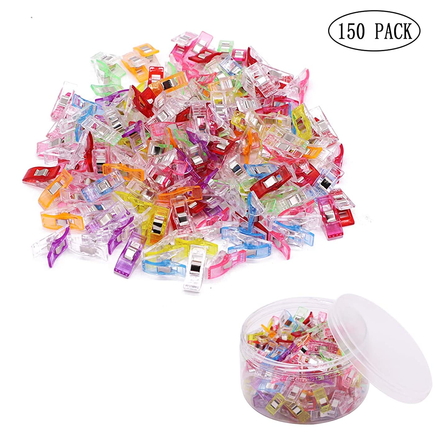 Pack of 150 Pcs Multipurpose Sewing Clips, All Purpose Craft Clips Quilting Clips for DIY Crafting Blinding Crochet and Knitting Clamps - Assorted 9 Colors