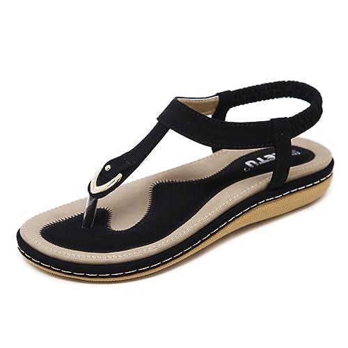 4e6a5ebecb32 Meeshine Women s Bohemia Flip Flops Summer Beach T-Strap Flat Sandals  Comfort Walking Shoes