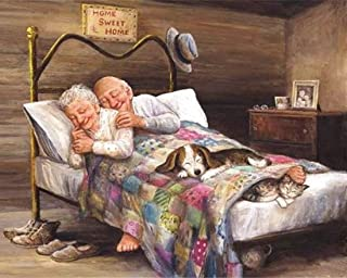 21secret 5D Diamond DIY Painting Full Drill Handmade Sweet Family Older Couples Dog Cat on Bed Cross Stitch Home Decor Embroidery Kit