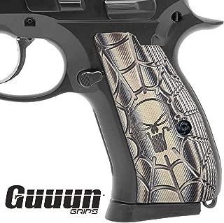 Guuun CZ 75 Compact Grips G10 Grips, Cobweb Punisher Skull Texture Texture fit CZ P-01, Canik 55, P100,C100,T100, PCR, CZ 75 D, CZ 75 85 Compact Pistol Grips, Brand Grips