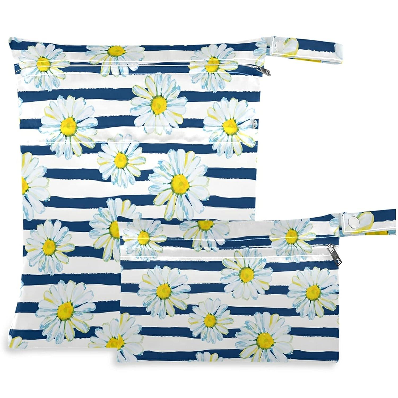 visesunny Blue Daisy Striped 2021 2Pcs Bag Wet Zippered Pockets with Fashionable