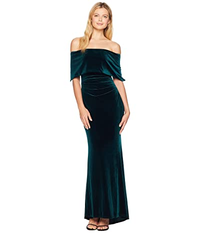 Vince Camuto Off the Shoulder Gown with Side Tucks (Hunter) Women