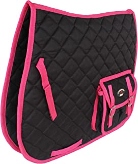 Horse Equine Cotton Quilted English Saddle PAD Trail Pockets Black Pink 72114