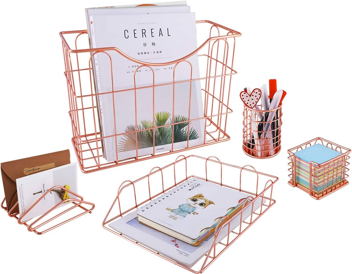 Superbpag Rose Gold Office Charlotte Mall Supplies 5 1 Desk Organizer Set - Special Campaign in