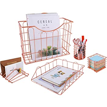 Superbpag Rose Gold Office Supplies 5 in 1 Desk Organizer Set - Hanging File Organizer, File Tray, Letter Sorter, Pencil Holder and Stick Note Holder