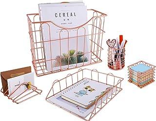 Superbpag Rose Gold Office Supplies 5 in 1 Desk Organizer Set - Hanging File Organizer, File Tray, Letter Sorter, Pencil H...