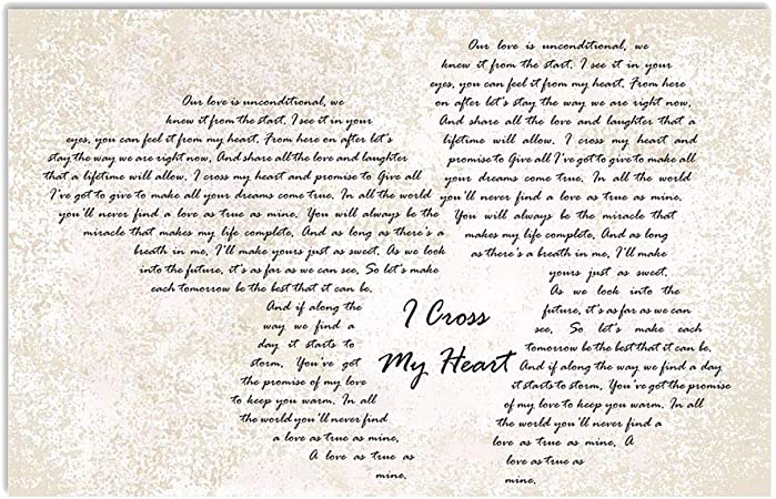 I Cross My Heart Poster 24x36 Inches Classic Vintage Family To My Wife