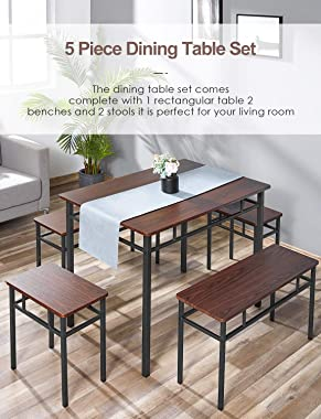 kealive Dining Table Set Kitchen Table with Bench 5 Pieces Modern Wood Table Top 2 Benches and 2 stools, Kitchen Dining Room
