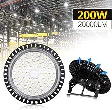 Younar 200W UFO LED High Bay Light 24,000lm 6000K-6500K Daylight White, 376 PCS LEDs IP65 Waterproof LED Light Lamp for Garages Basements Exhibition Halls Stadiums Gym Factory Warehouse Lighting