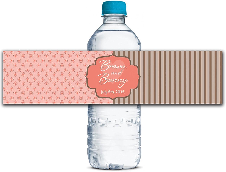 Personalisierte Wasserflasche Etiketten Selbstklebende wasserdichte Kundenspezifische Hochzeits-Aufkleber 8  x 2  Zoll - 50 Etiketten B01A0W78PC    Online Store