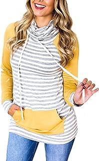 Women's Turtle Neck Pullover Hoodies Stripe Colorblock Sweatshirts Tops