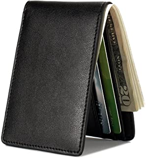Mens Slim Front Pocket Wallet ID Window Card Case with RFID Blocking