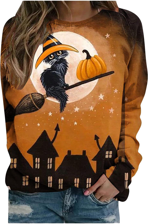 Womens Halloween Printed Sweatshirts Graphic Crewneck 3D Tops Long Sleeve Casual Pumpkin Pullover Tees