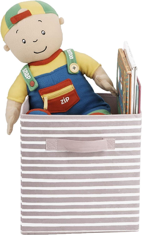 Mind Reader STRIPEBIN-PNK Storage Bins, One Size, Pink Stripes 1 Pack