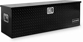 Arksen 49 Inch Heavy Duty Aluminum Utility Tool Box Diamond Plate Chest Box Truck Bed Trailer Storage Organizer, Black
