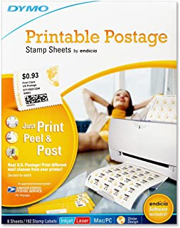 DYMO Authentic Printable Postage Stamp Sheets by Endicia for Inkjet or Laser Printers, 8 Sheets, 192 Stamp Labels, Mac/PC, Software Included