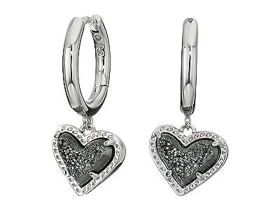 Kendra Scott Ari Heart Huggie Earrings (Rhodium Platinum Drusy) Earring