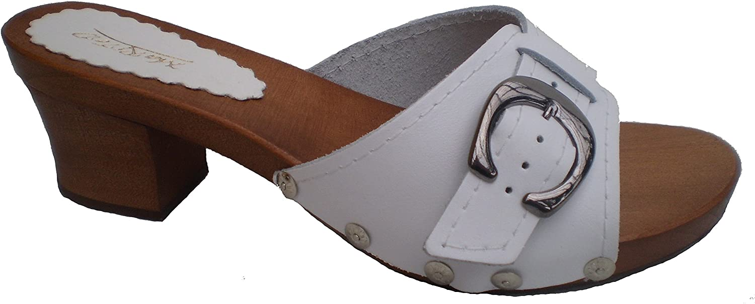 Marited' White Ladies Clogs Sandals Natural Leather and Wooden Sole and Heel