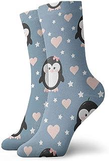 wwoman, Calcetines de vestir estampados para hombre y mujer Pingüino Pareja Niño y niña Calcetines coloridos divertidos y novedosos Crazy Crew 30 cm
