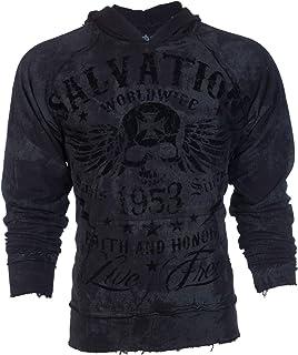 Affliction Archaic Mens Hoodie Sweat Shirt Jacket Black Tide Biker