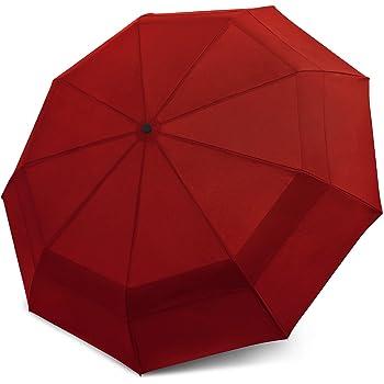 Windproof Travel Umbrella - Compact, Double Vented Folding Umbrella - Automatic Open & Close Button - Portable, Lightweight Outdoor & Golf Rain Umbrellas, UV Protection