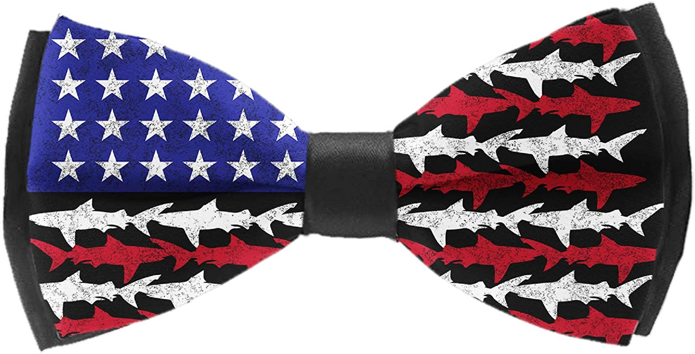Shark American Flag Pre-tied Adjustable Men's Bow Tie for Boys Gift