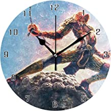 Journey to The West Monkey King World Round Wall Clock Home Decor Clock Battery Operated Silent Non -Ticking Desk Clock for Home,Office,School (10 Inch)