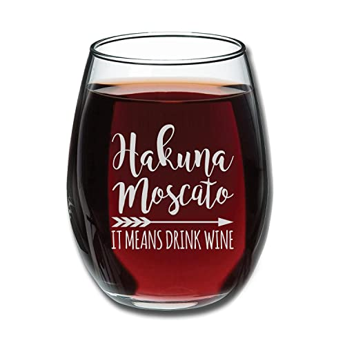 Hakuna Moscato It Means Drink Wine Funny Stemless Glass 15oz
