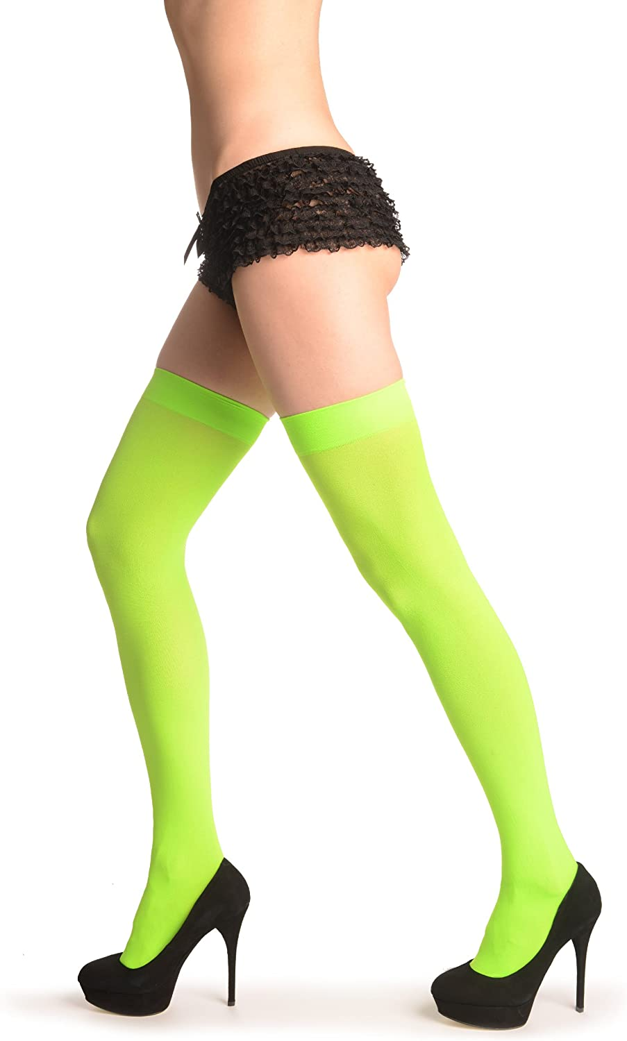 Lime Green Plain Opaque 40 Den - Stay - Up Thigh High Hold Ups (Stockings)