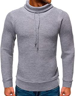 Men's Knitted Sweater Tops Beautyfine Autumn Winter Casual Pure Color O-Neck Long Sleeve Warm Stretch Coat