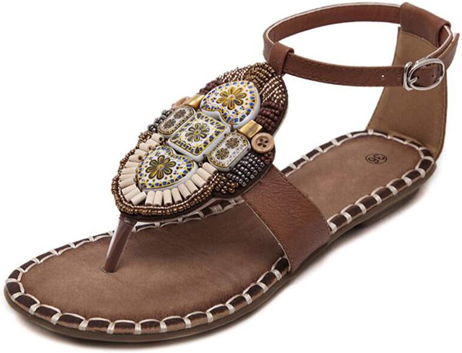 Summer Women Sandals Bohemian Beading Pu Printed Casual Flat Sandals for Woman M561
