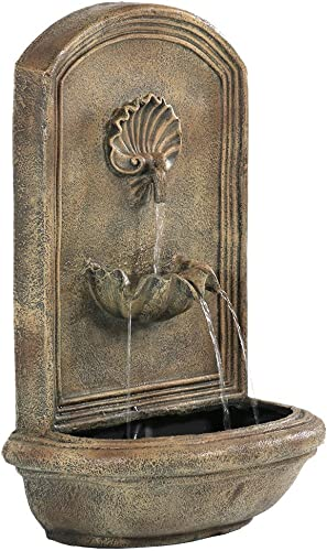 lowest Sunnydaze Seaside new arrival Solar Wall sale Fountain, 27 Inch, Florentine Stone online