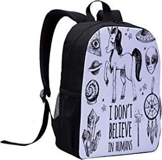 Unicorn Fresh Backpack,Mysticism Occult Featured Set with Pyramids Aliens Dream Catcher Grunge Print Artwork for Daily Leisure,12″L x 5″W x 17″H