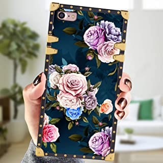 Square Case Compatible iPhone 7 iPhone 8 Case Rose Flowers Luxury Elegant Soft Shock Protection Case Cover Compatible iPhone 7/8 4.7 Inch