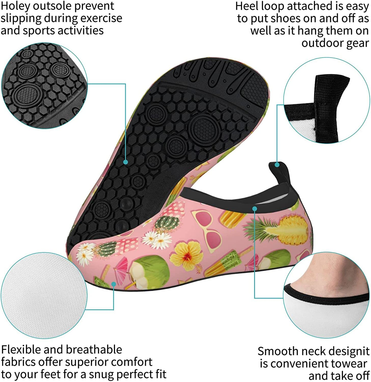 Jedenkuku Pineapple Coconut Style Hawaii Summer Children's Water Shoes Feel Barefoot for Swimming Beach Boating Surfing Yoga