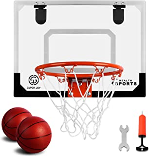 Super Joy Pro Indoor Mini Basketball Hoop Over The Door - Wall Mounted Basketball Hoop Set with Complete Accessories - Basketball Toys for Kids & Adults