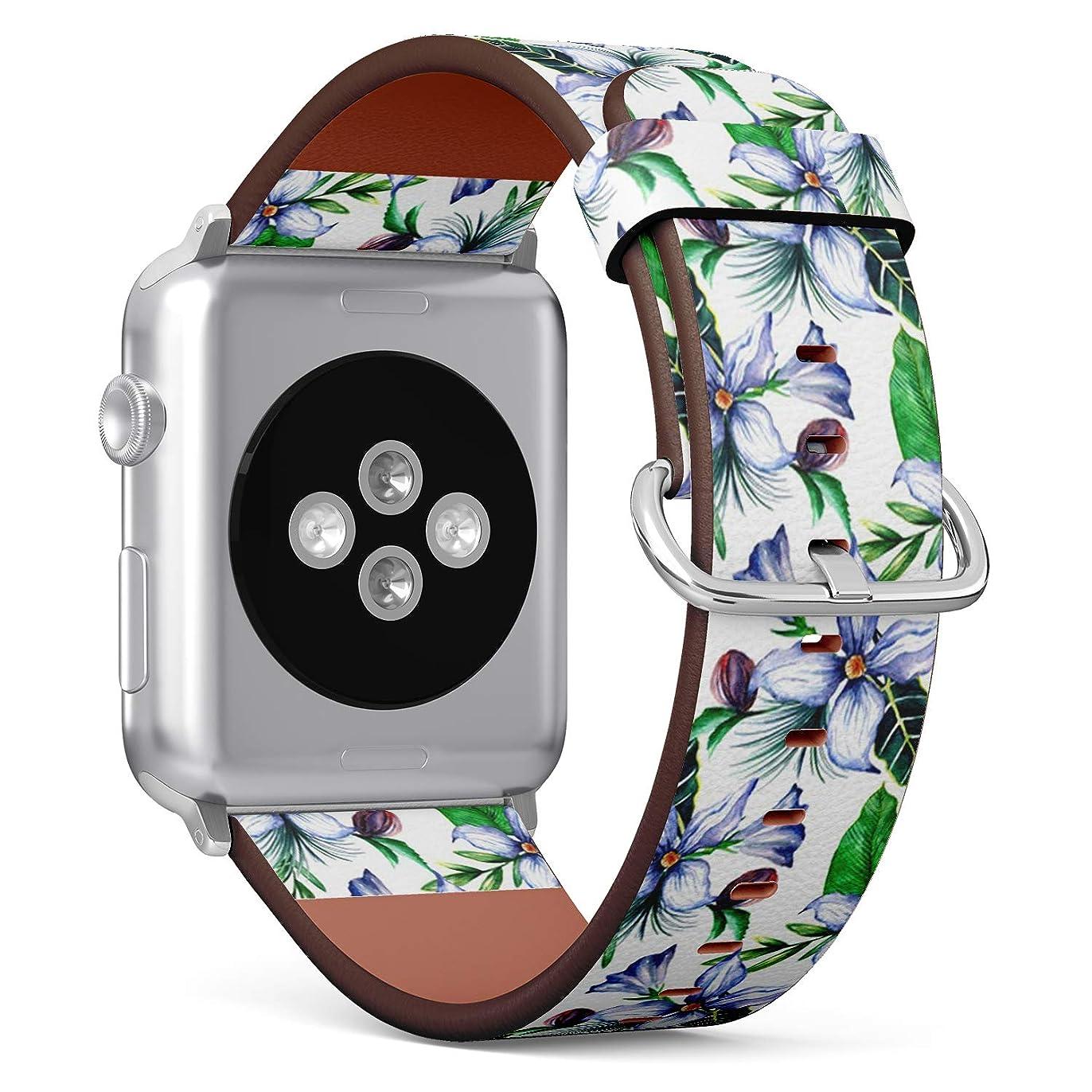 頑丈石令状コンパチブル Apple Watch iWatch 42mm & 44mm - 本革レザーストラップ, 向けのバンド交換ストラップです コンパチブル アップルウォッチ バンド (熱帯のハワイの葉のヤシの木)