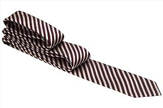Gravata branca com listras vermelho vinho e preto